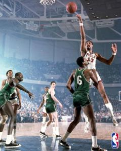Wilt Chamberlain goes for a layup