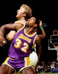 Magic Johnson and Larry Bird 1985 NBA Finals