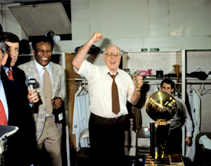 Red Auerbach Celebrates 1984 NBA Championship