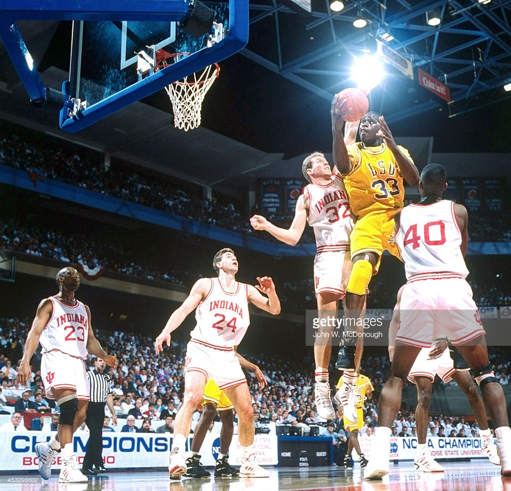College Basketball NCAA Playoffs LSU Shaquille ONeal 32 In Action