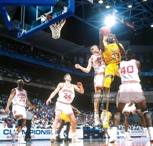 College Basketball: NCAA Playoffs: LSU Shaquille O'Neal (32) in action vs Indiana Eric Anderson (32) at BSU Pavillion. Boise, ID 3/21/1992 CREDIT: John W. McDonough (Photo by John W. McDonough /Sports Illustrated/Getty Images) (Set Number: X42640 )